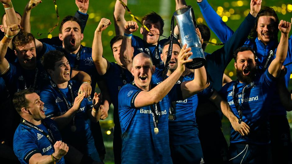 Devin Toner lifts the PRO14 trophy alongside his Leinster team-mates following the final win over Munster at the RDS Arena in Dublin. Photo by Brendan Moran/Sportsfile