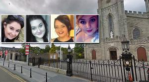 The memorial service took place today in Carlow Cathedral, main picture, for the four victims of the Athy road accident, from left, Niamh Doyle, Aisling Middleton, Gemma Nolan and Chermaine Carroll