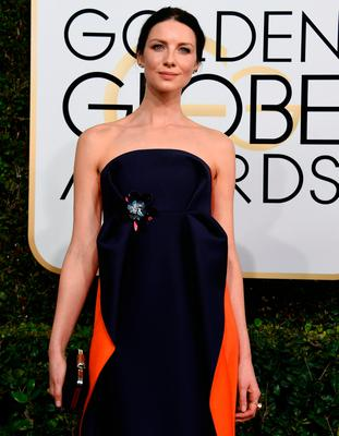 Caitriona Balfe arrives at the 74th annual Golden Globe Awards
