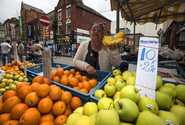 Pauline McCreery at her fruit stall on Moore Street, Dublin. Picture: Arthur Carron