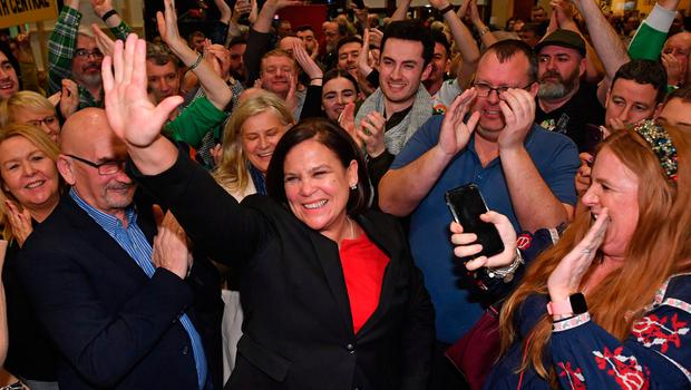 Wave of support: Sinn Féin party leader Mary Lou McDonald celebrates with her supporters after topping the poll in the Dublin Central constituency on the first count in the RDS in Dublin. Photo: BEN STANSALL/AFP via Getty Images