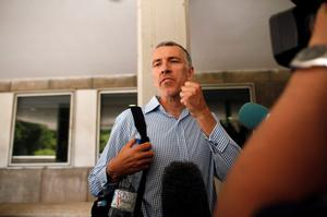 Brett King, father of Ashya King, speaks to the media as he and his wife Naghemeh (not pictured) arrive at the Materno-Infantil Hospital, where their son has been hospitalized since last Saturday, in Malaga, southern Spain, September 3, 2014