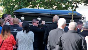 The body of Gerard 'Hatchet' Kavanagh, who was shot dead in Harmons Irish Bar in the Costa del Sol, Spain two weeks age is carried from the Church Of Our Lady Of Good Council , Drimnagh this afternoon after his funeral mass.. Picture Colin Keegan, Collins Dublin.