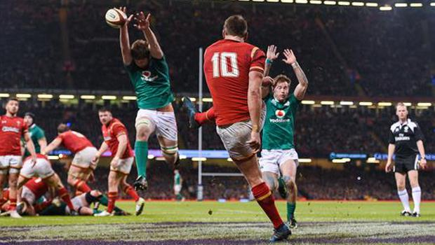 10 March 2017; Dan Biggar of Wales has a clearance blocked down by Iain Henderson of Ireland during the RBS Six Nations Rugby Championship match between Wales and Ireland at the Principality Stadium in Cardiff, Wales. Photo by Brendan Moran/Sportsfile