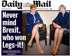 The Daily Mail's 'Legs-it' front page