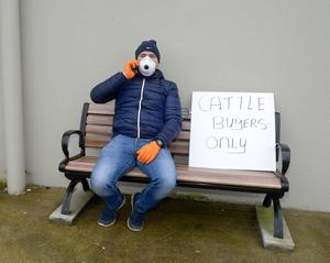 A farmer waiting to register as a buyer at Macroom Mart, Co Cork before marts were closed. Picture Denis Boyle