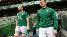 Ireland's Brian O'Driscoll, right, and Dan Tuohy make their way on to the pitch