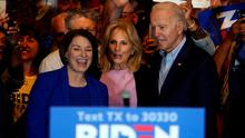 Backing: Former rival Amy Klobuchar endorses Joe Biden's campaign for the Democratic nomination. Photo: Reuters/Eric Thayer/File Photo