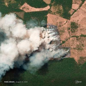 This handout picture collected by a satellite of © 2019 Planet Labs, Inc on August 20, 2019 shows smoke and fires in Brazil's state Para. - This week saw an outpouring of social media posts decrying forest fires in the Amazon rainforest, many of them under the hashtag #PrayforAmazonas.