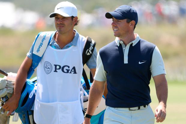 Rory McIlroy of Northern Ireland walks with caddie Harry Diamond on the fourth hole during the second round of the 2021 PGA Championship at Kiawah Island. (Photo by Jamie Squire/Getty Images)