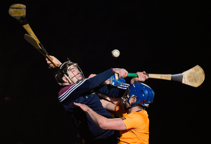 Goalkeeper Robbie Gillen and Paul O'Dea of DCU in action against Kilkenny's John Donnelly during their Walsh Cup match in Dunmore. Photo by Matt Browne/Sportsfile