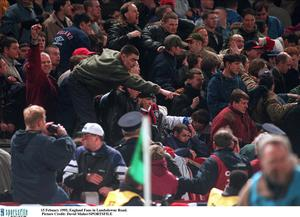 15 February 1995; Rioting England fans in the Upper West Stand which forced the abandonment of the game. International Friendly, Republic of Ireland v England, Lansdowne Road, Dublin. Picture credit; David Maher / SPORTSFILE