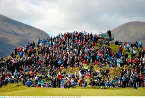 28 May 2015; Rory McIlroy putts on the 5th green. Dubai Duty Free Irish Open Golf Championship 2015, Day 1. Royal County Down Golf Club, Co. Down. Picture credit: Ramsey Cardy / SPORTSFILE