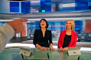 RTE News anchors, Keelin Shanley and Catrions Perry pictured in the new RTE News TV studio  at RTE Donnybrook. The new studio goes into operation today..Picture Colin Keegan, Collins Dublin.