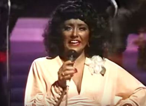 DIFFERENT TIMES: Twink and backing singers performing as 'Gladys Day and the Pits' on RTE television's The Live Mike in 1982