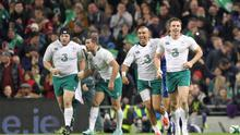 Tommy Bowe is congratulated by by Simon Zebo after scoring against South Africa at the Aviva Stadium