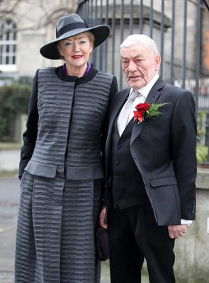Marian Finucane pictured with her husband John Clarke  after they were married  at the Civil Marriages Registry office on Dublin's Grand Canal street. Picture: Frank McGrath