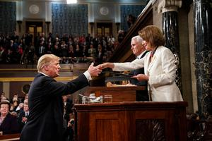 House rules: US President Donald Trump and Speaker of the House Nancy Pelosi, with Vice President Mike Pence in the background. Photo: Getty