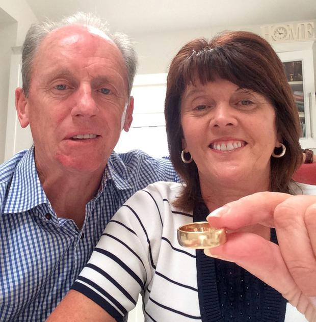 Frances and Thomas Dunne with the ring they found