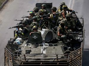 Ukrainian troops are pictured in the eastern Ukrainian town of Konstantinovka. Photo: Reuters