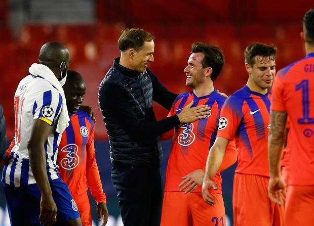 Chelsea manager Thomas Tuchel celebrates with Ben Chilwell after the match