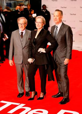 (L-R) Steven Spielberg, Meryl Streep and Tom Hanks attend 'The Post' European Premiere at Odeon Leicester Square on January 10, 2018 in London, England.  (Photo by Tristan Fewings/Tristan Fewings/Getty Images)
