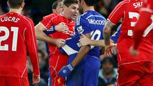 Chelsea's Diego Costa argues with Liverpool's Steven Gerrard (C) during their English League Cup semi-final second leg soccer match at Stamford Bridge