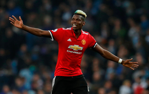 Manchester United's Paul Pogba celebrates after the match. Photo: Reuters