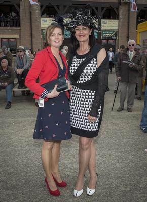 Wednesday 30 April 2014. Punchestown Races: Deirdre Murphy and Joan Dempsey, Clane.