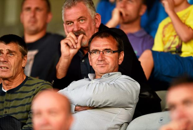 Pat Fenlon flew back from Spain to watch Shamrock Rovers against Bohemians in last night's EA Sports Cup clash, alongside long-time associates Larry Corbally and Dave Henderson, amid speculation he is set to take the Hoops reins. Photo: David Maher / SPORTSFILE