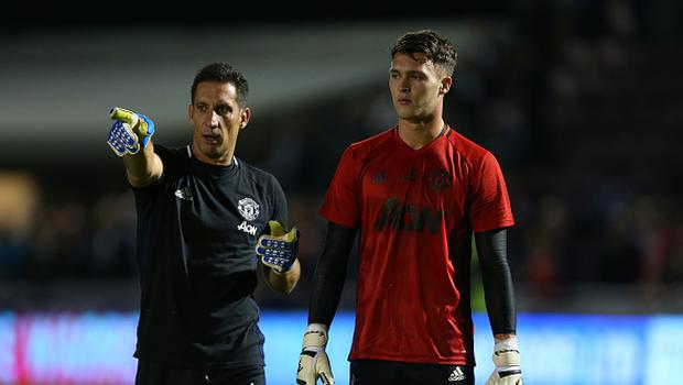 NORTHAMPTON, ENGLAND - SEPTEMBER 21: Manchester United goalkeeping coach Emilio Alvarez and Kieran O'Hara of Manchester United during the EFL Cup match between Northampton Town and Manchester United at Sixfields on September 21, 2016 in Northampton, England. (Photo by Catherine Ivill - AMA/Getty Images)