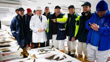 Cod almighty: Boris Johnson meets workers in Peterhead Fish Market, Scotland. Photo: Getty Images