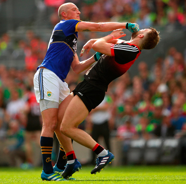 Kieran Donaghy connects with the head of Aidan O'Shea in an incident which saw the Kerryman sent off. Photo: James Crombie/INPHO