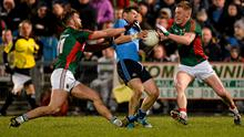 14 March 2015; Kevin McManamon, Dublin, in action against Aidan O'Shea, left, and Kevin Keane, Mayo. Allianz Football League Division 1 Round 5, Mayo v Dublin. Elverys MacHale Park, Castlebar, Co. Mayo. Picture credit: Piaras ? M?dheach / SPORTSFILE