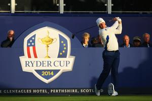 AUCHTERARDER, SCOTLAND - SEPTEMBER 27: Lee Westwood of Europe tees off on the 1st hole during the Morning Fourballs of the 2014 Ryder Cup on the PGA Centenary course at the Gleneagles Hotel on September 27, 2014 in Auchterarder, Scotland.  (Photo by Ross Kinnaird/Getty Images)