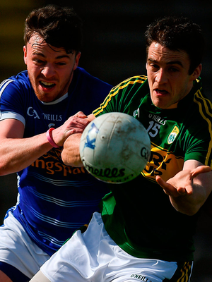 Stephen O'Brien of Kerry in action against Conor Moynagh of Cavan. Photo: Stephen McCarthy/Sportsfile