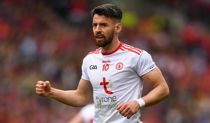 Tyrone's Mattie Donnelly made his comeback from serious injury in a club game yesterday, lining out for Trillick in the Division 1A opener against Clonoe. Photo: Eóin Noonan/Sportsfile