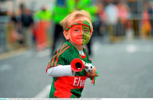 30 August 2015; Mayo supporter Tadhg Judge, from Ballina, Co. Mayo, on his way to the game. GAA Football All-Ireland Senior Championship, Semi-Final, Dublin v Mayo, Croke Park, Dublin. Picture credit: Ramsey Cardy / SPORTSFILE