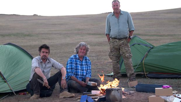 Richard Hammond, James May and Jeremy Clarkson in Mongolia during filming the third series of The Grand Tour, which returns this month (Ellis O'Brien)