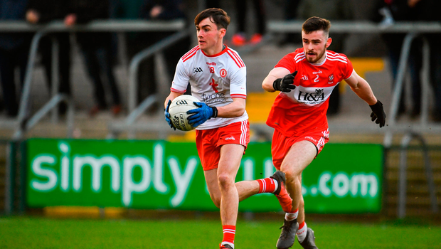 Darragh Canavan of Tyrone in action against Eoghan Concannon of Derry. Photo by Sam Barnes/Sportsfile