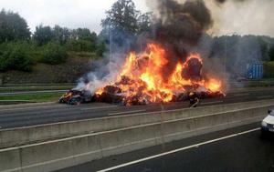 The truck on fire on the M50