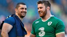 21 March 2015; Ireland's Rob Kearney and Sean O'Brien, right, after the game.  RBS Six Nations Rugby Championship, Scotland v Ireland. BT Murrayfield Stadium, Edinburgh, Scotland. Picture credit: Brendan Moran / SPORTSFILE