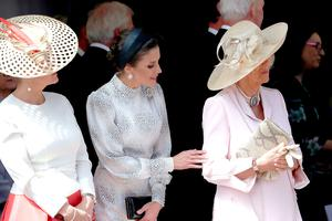 Queen Letizia of Spain and Camilla, Duchess of Cornwall at the Order of the Garter Service at St George's Chapel in Windsor Castle on June 17, 2019 in Windsor, England