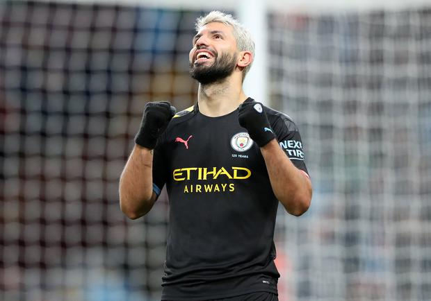 Sergio Aguero celebrates after scoring his third goal and Manchester City sixth at Villa Park. Photo: Alex Livesey - Danehouse/Getty Images