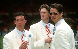 Robbie Fowler, Steve MacManaman and Jamie Redknapp prior to the 1996 FA Cup Final