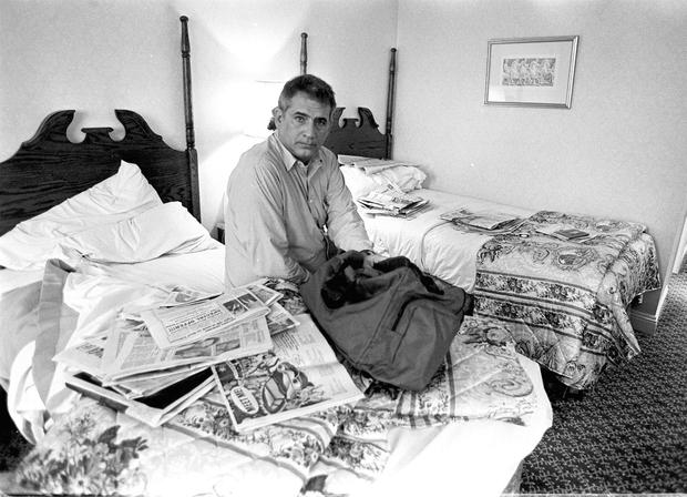 Her late father John in the Berkeley Court Hotel in 1994