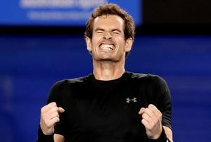 Andy Murray of Britain celebrates after defeating Tomas Berdych to reach the final