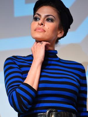 """Actress Eva Mendes takes part in a Q&A following the """"Lost River""""  premiere during the 2015 SXSW Music, Film + Interactive Festival at Topfer Theatre at ZACH on March 14, 2015 in Austin, Texas.  (Photo by Michael Loccisano/Getty Images for SXSW)"""