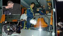 Attacked: Fenerbahce's team bus has bullet holes in it and the driver wounded