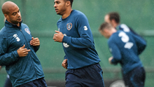 11 November 2014; Republic of Ireland's Cyrus Christie, right with David McGoldrick, during squad training ahead of their UEFA EURO 2016 Championship Qualifer, Group D, match against Scotland on Friday. Republic of Ireland Squad Training, Gannon Park, Malahide, Co. Dublin. Picture credit: David Maher / SPORTSFILE